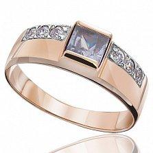 Золотое кольцо с лавандовым цирконием Принцесса