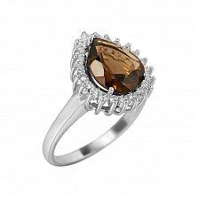 Серебряное кольцо Фелиция с раухтопазом и фианитами