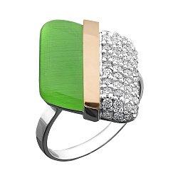 Серебряное кольцо с золотой накладкой, зеленым улекситом, фианитами и родированием 000066865
