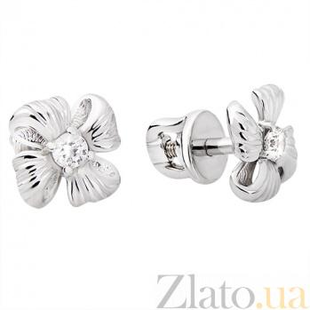 Серьги из белого золота Цветы TRF--222230
