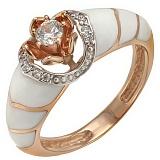 Золотое кольцо Франческа с фианитами и эмалью
