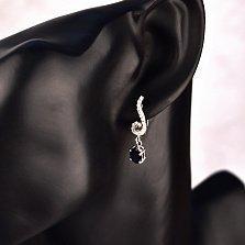 Серебряные серьги-подвески Виньетка с сапфиром и фианитами