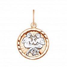 Золотая подвеска Близнецы в комбинированном цвете 000133629