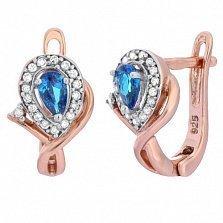 Позолоченные серебряные серьги с голубыми фианитами Кристабель