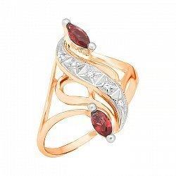 Позолоченное серебряное кольцо с красным  цирконием 000028200