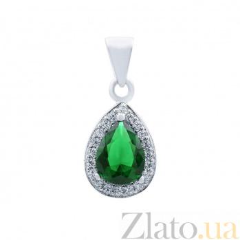 Серебряный кулон с зеленым цирконом Летний дождь AQA--CTP09146-PG