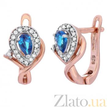 Позолоченные серебряные серьги с голубыми фианитами Кристабель SLX--СК3ФЛТ/340