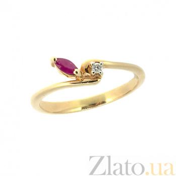Золотое кольцо из красного золота с рубином и бриллиантом Венус ZMX--RR-15809_K