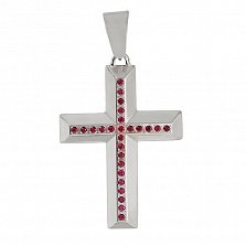 Золотой декоративный крестик Строгие линии с рубинами