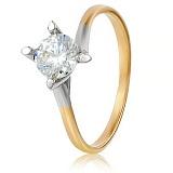 Золотое кольцо с кристаллом Swarovski Элис