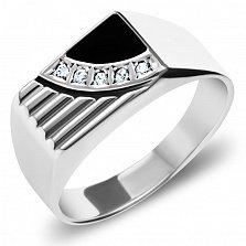 Серебряный перстень-печатка Майкл с рифленой шинкой, черной эмалью и белыми фианитами