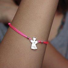Шелковый браслет Ангел-Хранитель с серебряной вставкой