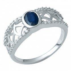 Серебряное кольцо с сапфиром и фианитами 000074706