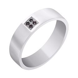 Обручальное кольцо из белого золота с черными бриллиантами 000007397