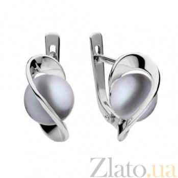 Серьги из белого золота с серым жемчугом Динара SG--14087003