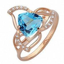 Золотое кольцо Лиллиан с топазом Лондон и фианитами