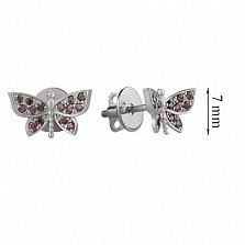 Серьги-пуссеты с коричневыми фианитами Бабочка