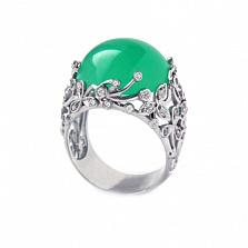 Золотое кольцо с бриллиантами и хризопразом Porcelain