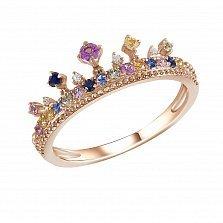 Кольцо из красного золота Королева волшебной страны с сапфирами микс