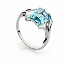 Кольцо из белого золота с топазом и бриллиантами Наяда