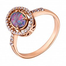 Золотое кольцо Астелла с опалом и цирконием