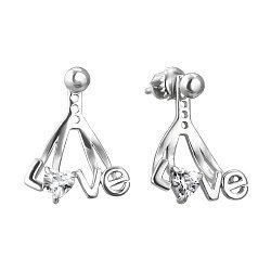 Серебряные серьги-джекеты с фианитами в форме сердца 000118173