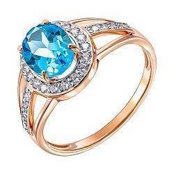 Золотое кольцо в комбинированном цвете с топазом и фианитами 000137349
