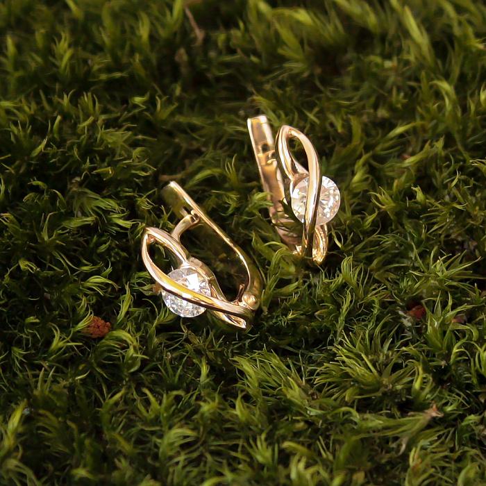 Золотые серьги Риолетта с фианитами 000079940