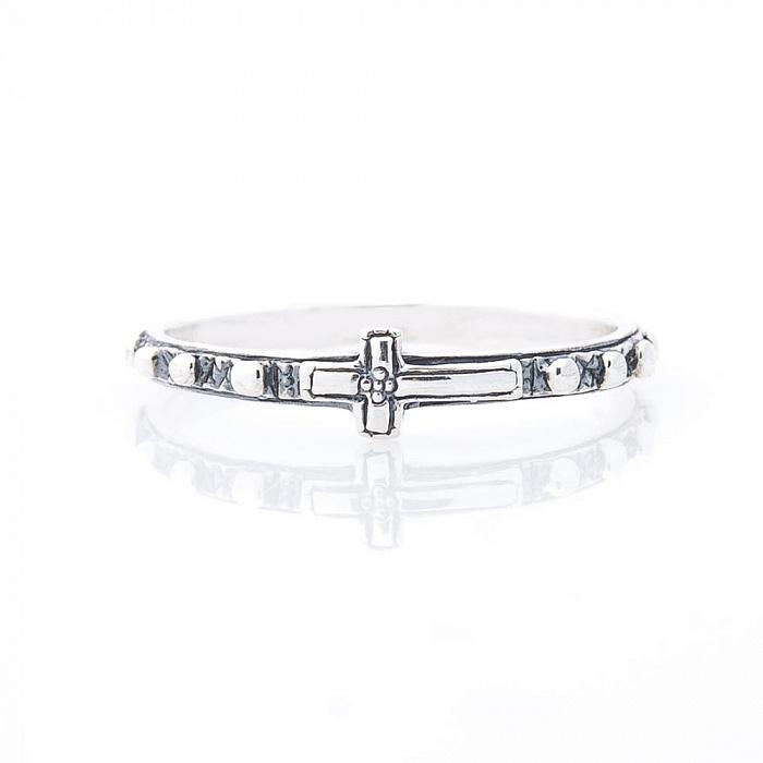Серебряное кольцо Крестик с чернением 000080141