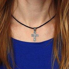 Серебряный родированный крест Благо с чернением и надписью Спаси и Сохрани