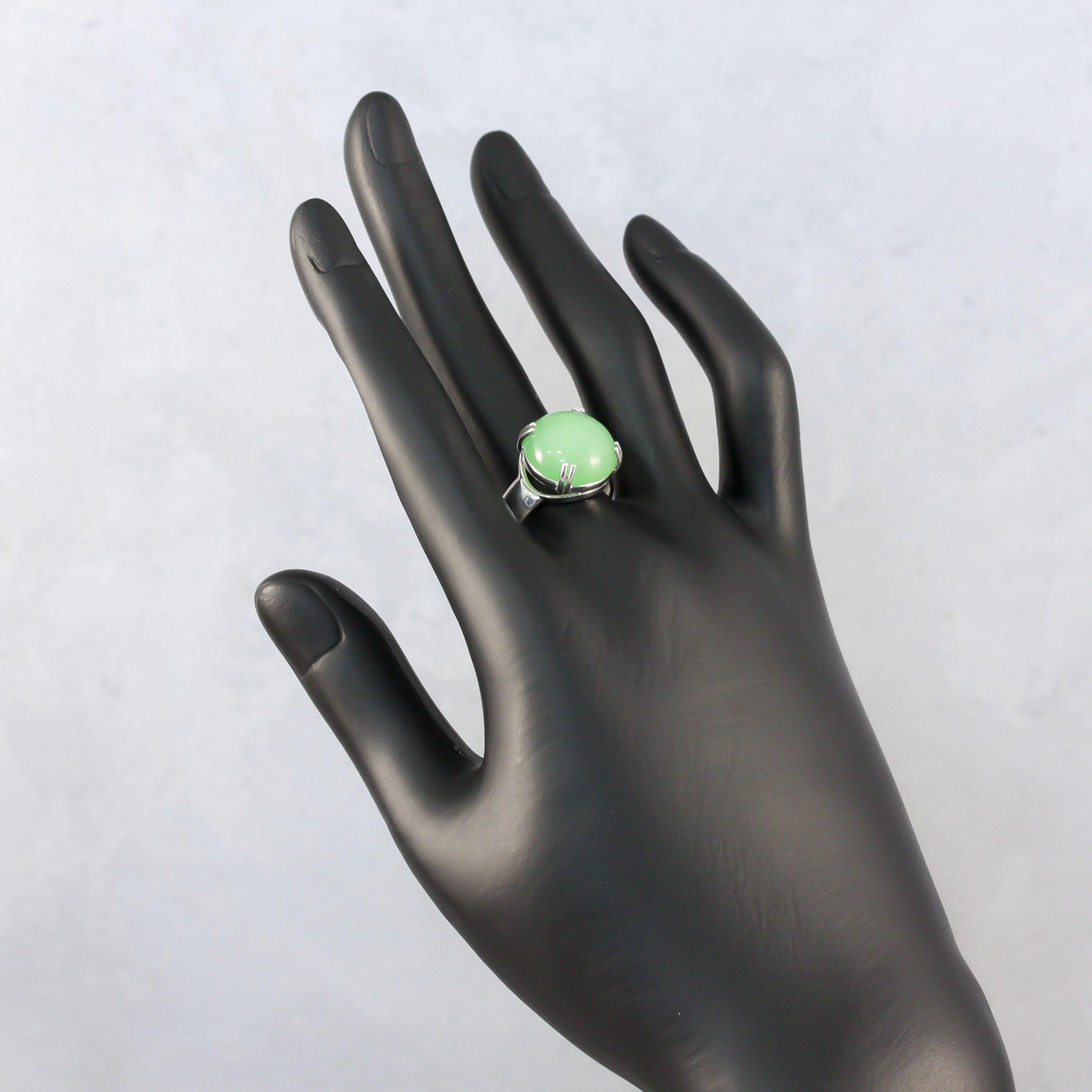 Серебряное кольцо Зеленый фонарь с хризопразом