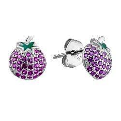 Серебряные серьги-пуссеты с розовыми фианитами и зеленой эмалью 000132451