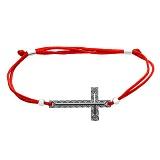 Шелковый браслет с серебряной вставкой Крест