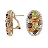 Золотые серьги с кварцами, хризолитами и бриллиантами Амазонка