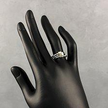 Серебряное наборное кольцо Любовный клевер с золотыми накладками-сердцами