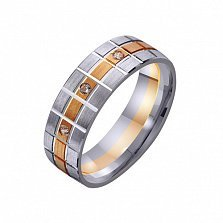 Золотое обручальное кольцо Тетриция с фианитами