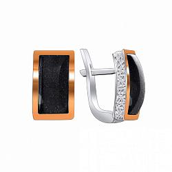 Серебряные серьги Грейс с фактурной поверхностью, авантюрином и золотыми накладками