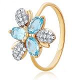 Золотое кольцо Мистический цветок с голубыми топазами и фианитами