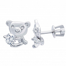 Серебряные серьги Медвежата с фианитами