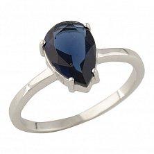 Серебряное кольцо Иннес с синтезированным сапфиром
