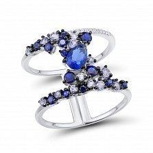Кольцо из белого золота Виола с бриллиантами и сапфирами