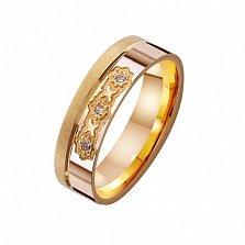 Золотое обручальное кольцо с фианитами Супружеская любовь