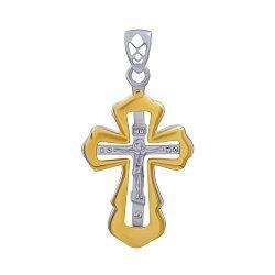 Серебряный крестик в комбинированном цвете 000140291