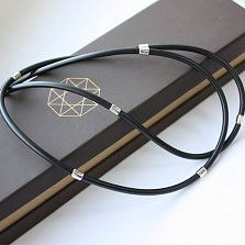 Каучуковый шнурок с серебряными вставками Дэриен, d=3мм