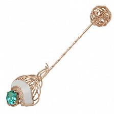 Золотая брошь Ванда с кварцем, фианитами и эмалью