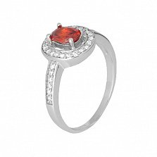 Серебряное кольцо Вистилия с красным и белыми фианитами