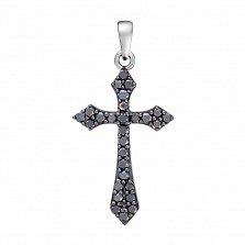 Золотой крестик Альтенда в белом цвете с черными бриллиантами