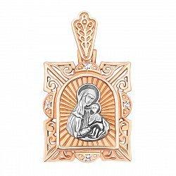 Золотая ладанка Казанская Божья Матерь в комбинированном цвете с фианитами 000133912