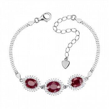 Серебряный браслет с рубинами и фианитами 000147255