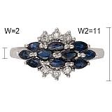 Кольцо Индира из белого золота с бриллиантами и сапфирами